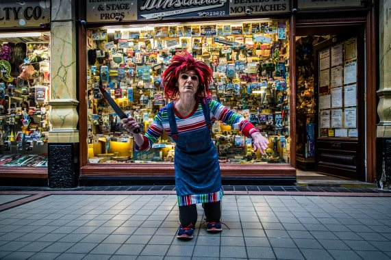 Hullywood Icon number 161 Film: Child's Play – Chucky Location: Dinsdale's Hepworth Arcade.